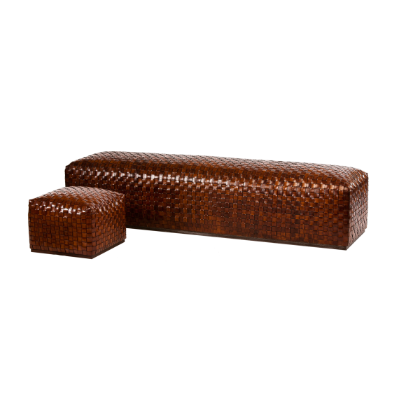 Breadloaf Woven Leather Bench