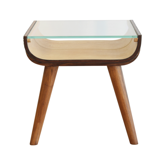 Starboard Side-Table - Sand Coloured Leather