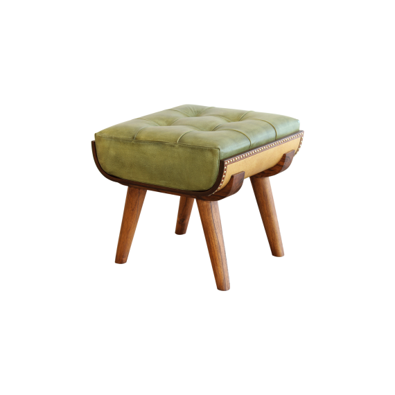 """Star-board"" Stool (Sand coloured &  moss green leather)"