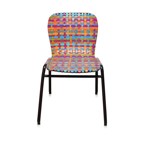 """The Coral Reef"" Chair (Multicoloured leather weave)"
