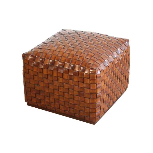 Breadloaf Woven Leather Pouffe