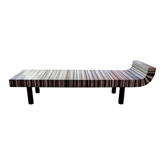 Float Table - Antique Black & White Leather