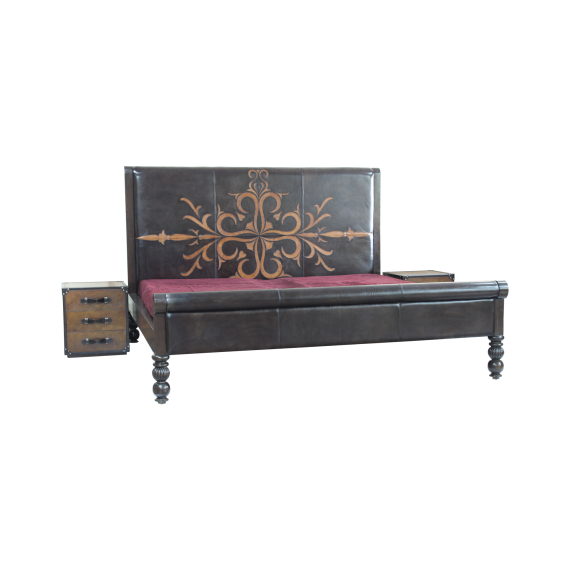 ''Reflection' - Double bed in appliqued leather